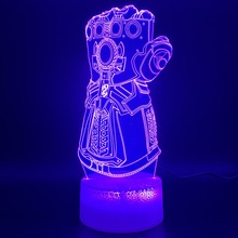 3d Night Lamp Marvel Thanos Glove Design Home Decoration Crafts Boys Bedroom Nightlight Childrens Birthday Gift LED Light