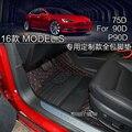 Envío libre de lujo portátil de fibra de alfombra del piso del coche de cuero para tesla model s 75D 90D P90D RHD LHD