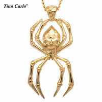 Mens Gold Tone Stainless Steel Gothic Spider Skull Pendant W 27 5 Cuban Necklace Chain Mens