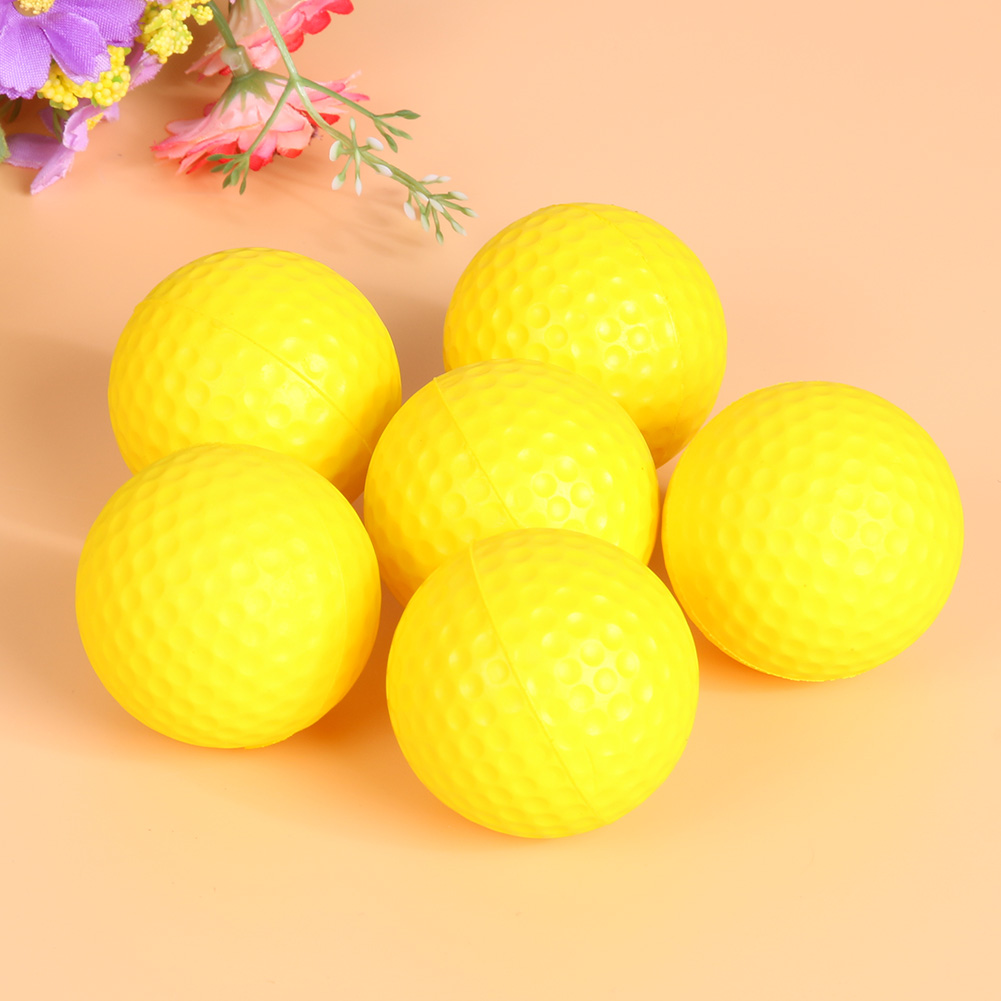 12Pcs/Lot PU Soft Golf Training Balls 42mm Diameter Yellow Indoor Golf Sports Game Beginners Practice Training Balls