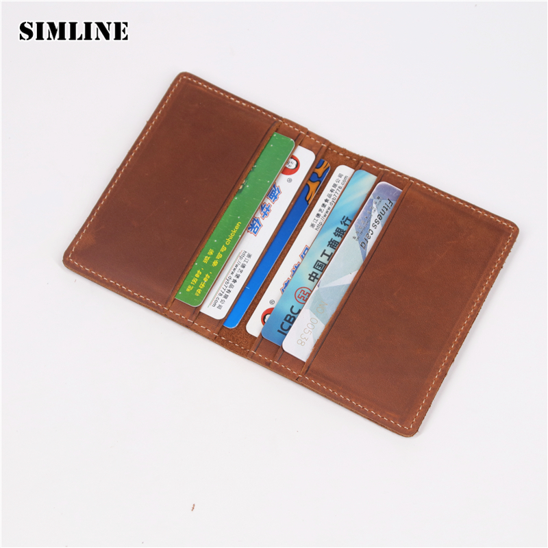 SIMLINE Genuine Leather Credit Card Holder Men Men's Vintage Crazy Horse Cowhide Short Slim Wallet Wallets Purse Case ID Holders hot yuri on ice unisex name id business card holder wallets plisetsky yuri 28 bank credit card case holders card holder purse