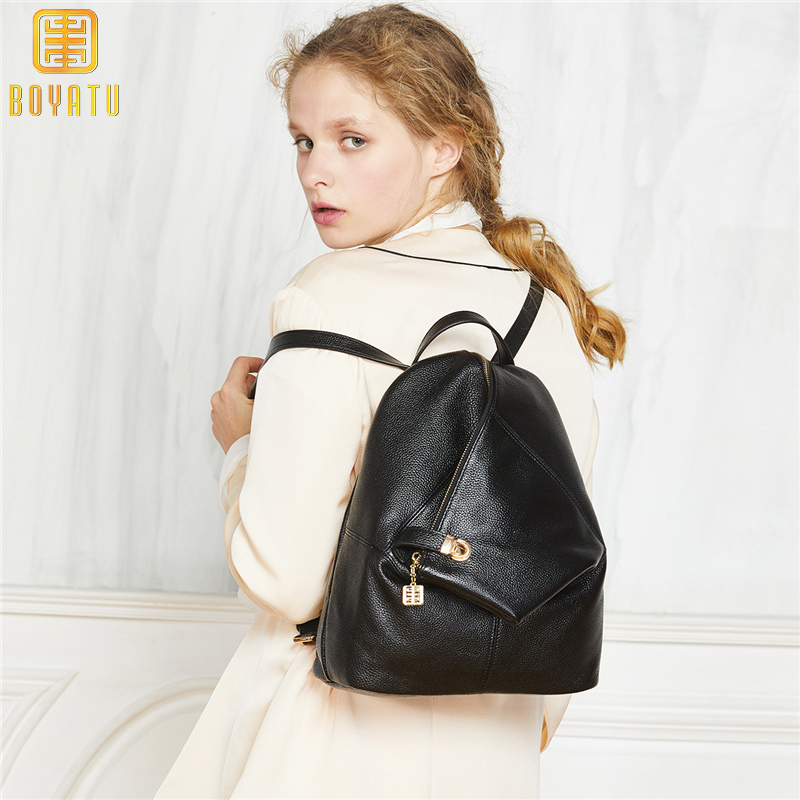цена на Genuine Leather Backpack Women Fashion School Backpack Female Casual Travel Shoulder Bags for Girl Mochila Rucksack Bagpack