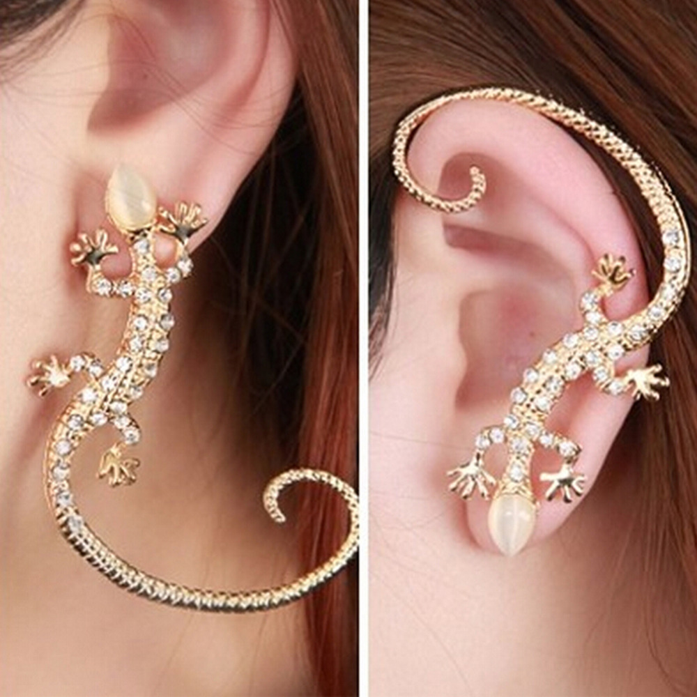 1 PC 2018 Fashion Rhinestone Ear Cuff Earrings,luxury Elegant  Rose Gold Exaggerated Gecko Lizards And Snake Stud Earrings золотые серьги по уху