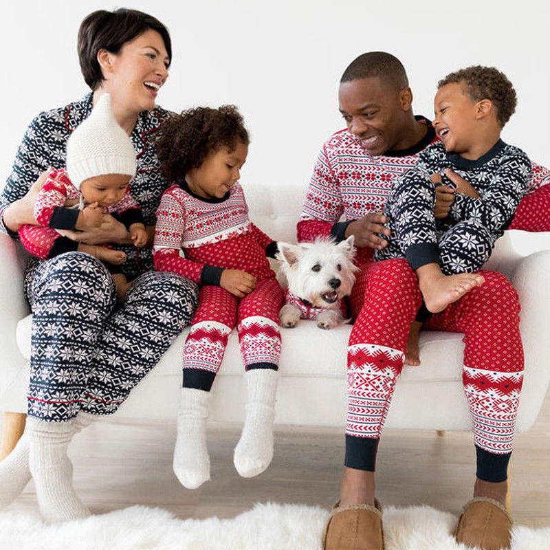 Family Matching Christmas Striped Snowflake Printing Pyjamas Sets Nightwear Adult Mum/Dad/Baby/Kids Sleep Set