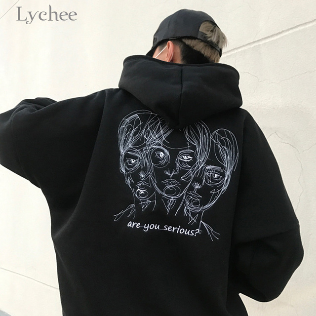 Lychee Harajuku Punk Autumn Winter Women Hooded Sweatshirt Head Embroidery Long Sleeve Casual Loose Fleece Hoodies Tracksuit 3