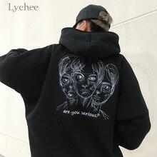 Autumn Winter Women Hooded Sweatshirt Head Embroidery Long Sleeve Casual Loose Fleece Hoodies Tracksuit