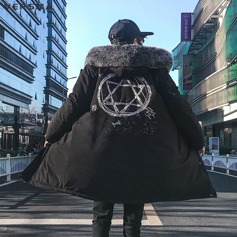 VERSMA 2018 haute rue Hip Hop surdimensionné hommes Long coupe-vent vestes manteaux Parkas hommes coréen Harajuku imprimé à capuche Parka hommes