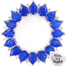 Guaranteed Real 925 Solid Sterling Silver 5.7g Deluxe Real Blue Sapphire Cubic Zirconia Wedding Pendant 31x31mm цена