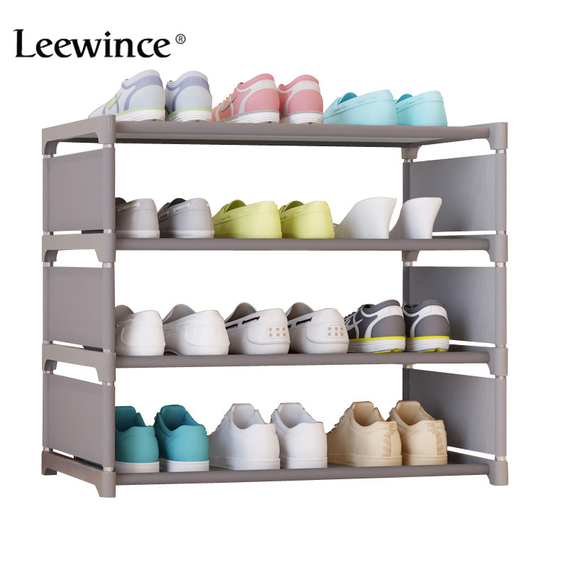 Leewince Simple Shoe Cabinets Ironwork Multi-layer Assembly of Shoe Rack with Modern Simple Dustproof Shoe Cabinet 50cm Hight 4 layers of simple dust proof moisture proof shoe rack thick non woven stainless steel shoe free assembly of home furniture