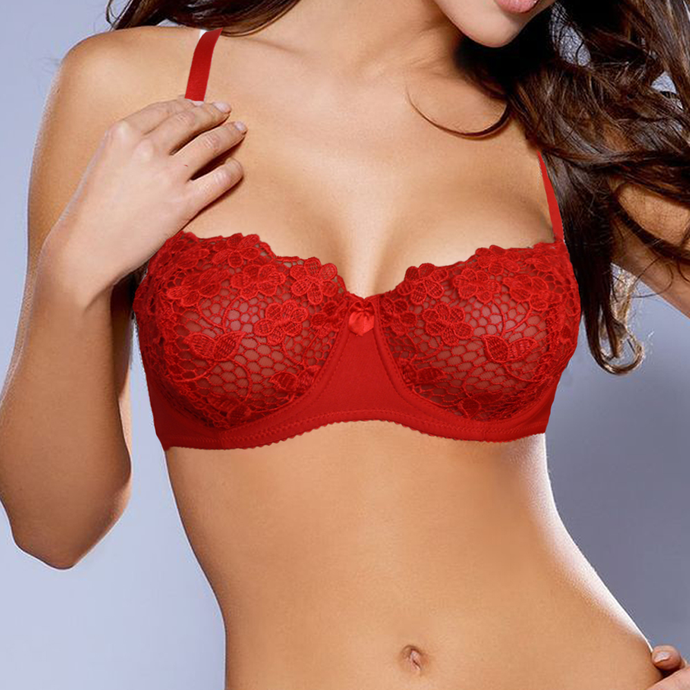 8a53b8fb4236e Ladies Sexy Underwire Unpadded Embroidery Lace Bra Mesh Lined Brassiere  Bralette Push Up Bras Black Red