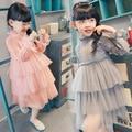 Детская Одежда Новых Девушек Весна Принцесса КРУЖЕВА ТОРТ Платье Baby Дети Одежда Розовый Серый