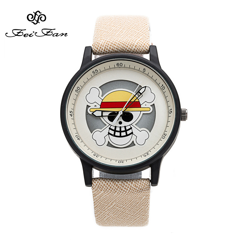 One Piece skeleton dial Design Fashion Pirate Cartoon Watches 2017 FEIFAN Brand personality Watch Women Students Wrist Watch