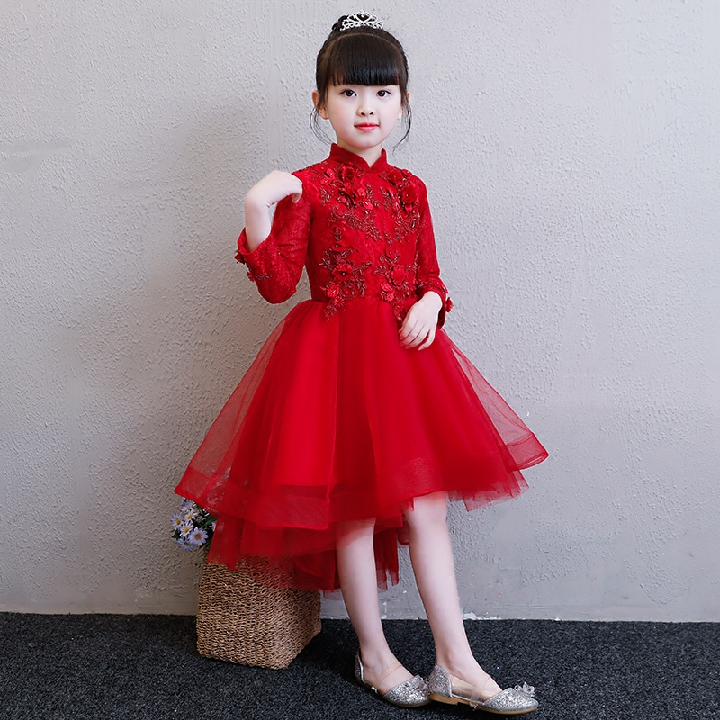 Girls Wedding Party Flowers Tail Dress Baby Birthday Dresses Princess Lace Children Formal Frocks Kids Party Clothes for Girl цены