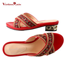 8f9401d4de76e9 WesternRain Mid Heels Women Slippers Black Blue Red Leather high quality  Large Size Leisure Comfortable Rhinestones Sandals