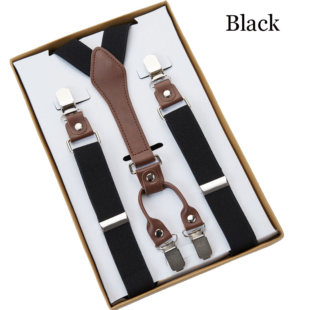 4 Clip Mens Suspenders Men Braces Supports tirantes For Women Elastic Adjustable Pants Straps Clothing