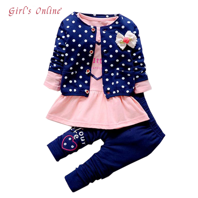 все цены на Children Clothing Set Spring Autumn Casual Kids Suits for Girl Coats Shirts Pants 3pcs Girls Clothes 1 2 3 4 Year Baby Costume