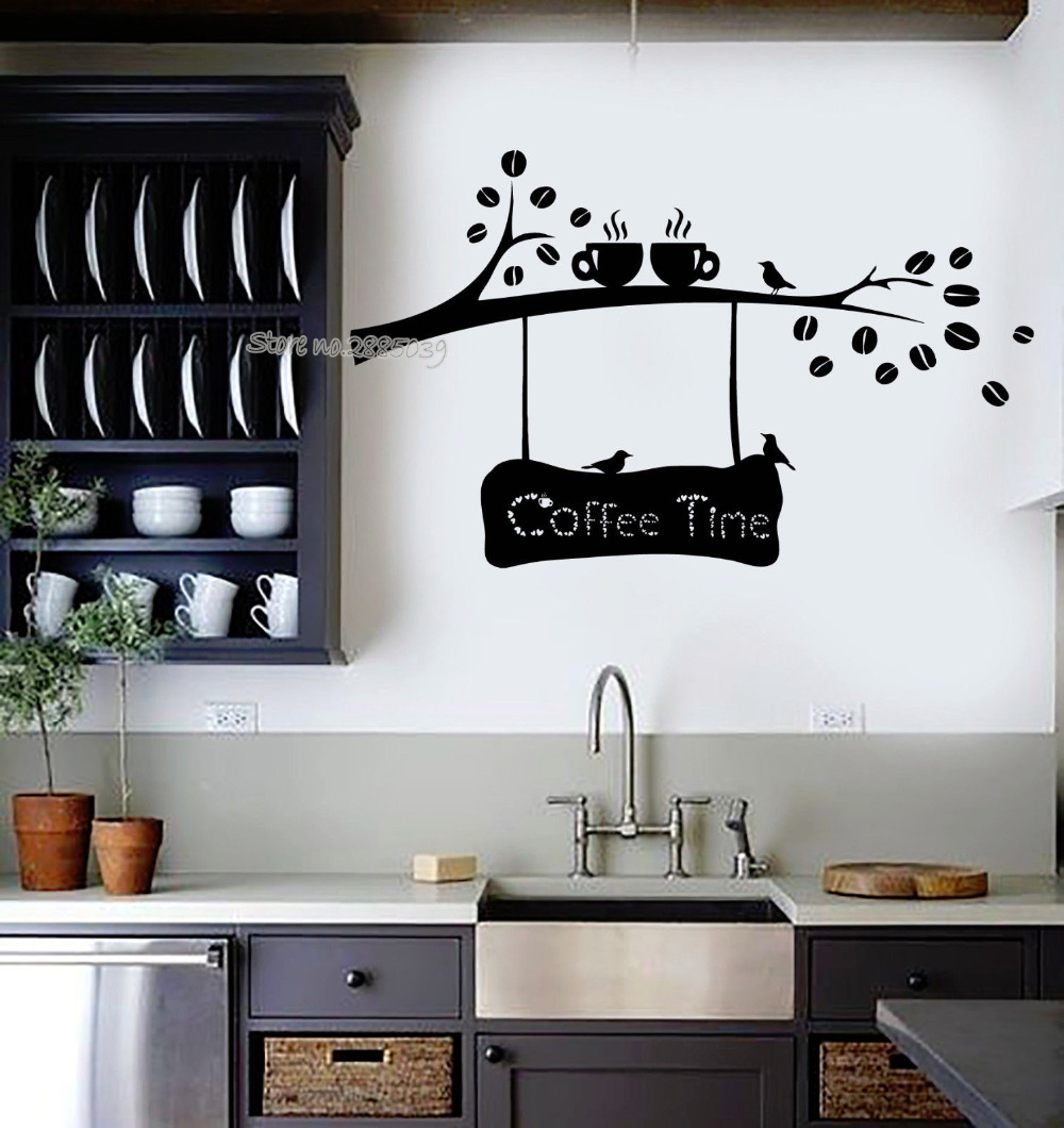 Kitchen Decor Stores: Coffee Time Quotes Vinyl Wall Decal Coffee Beans Branch