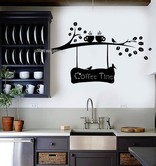 coffee time quotes vinyl wall decal coffee beans branch cup birds