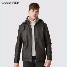 CARANFIER Men Fashion Leather Jacket Hat Detachable Slim Thick WInter Male Motorcycle Rider Businessmen Style M