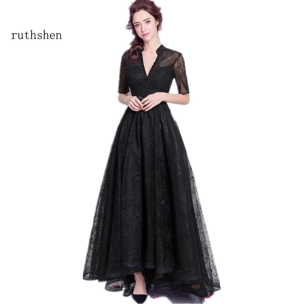 Ruthshen Black Evening Dresses 2018 Half Sleeves Lace Sexy V-Neck Long Prom Dress Cheap Ladies Formal Party Gowns