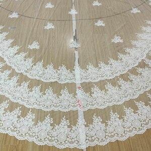 Image 2 - Luxo 5 metros borda cheia com laço que bling lantejoulas 3 camadas longo véu de casamento com pente branco marfim véu nupcial 2018 acessórios