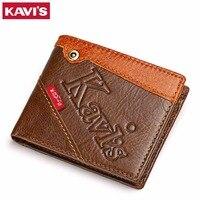 KAVIS Top Quality Leather Men Wallets Vintage Genuine Leather Card Holder Wallet For Men Leather Thin