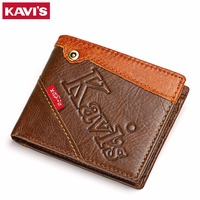 KAVIS Top Quality Leather Men Wallets Vintage Genuine Leather Card Holder Wallet For Men Leather Thin