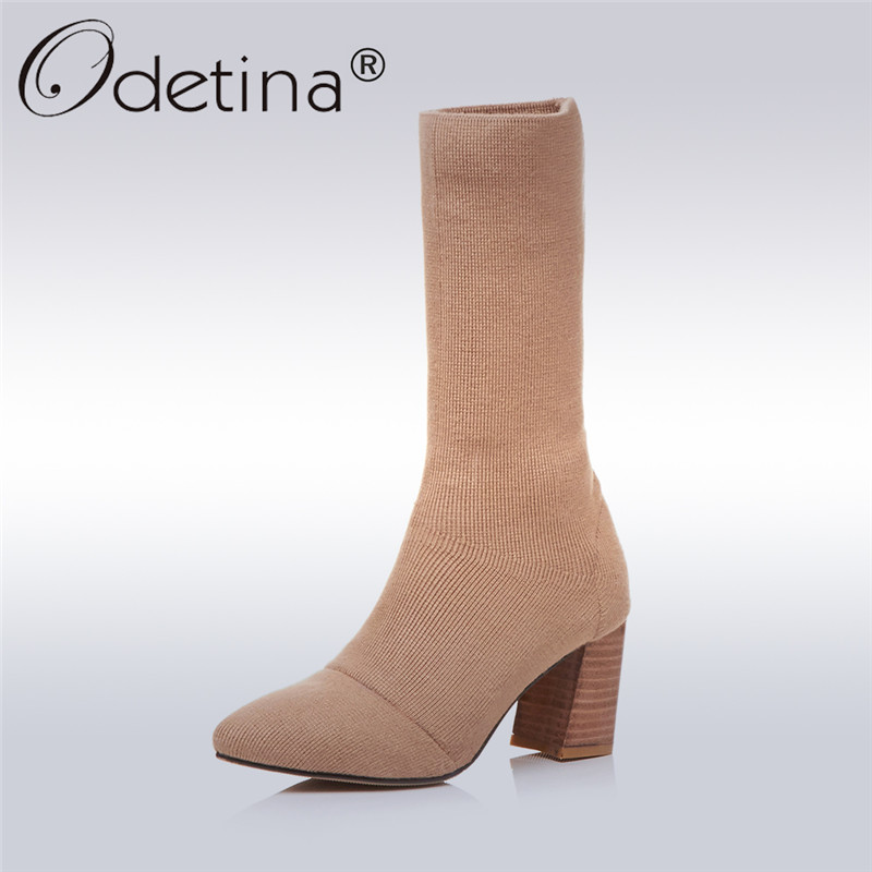 Odetina 2017 New Fashion Stretch Sock Booties for Women Chunky Block Heel Ankle Boots Pointed Toe Knitting Boots Plus Size 33-43 fashion kardashian ankle elastic sock boots chunky high heels stretch women autumn sexy booties pointed toe women pumps botas