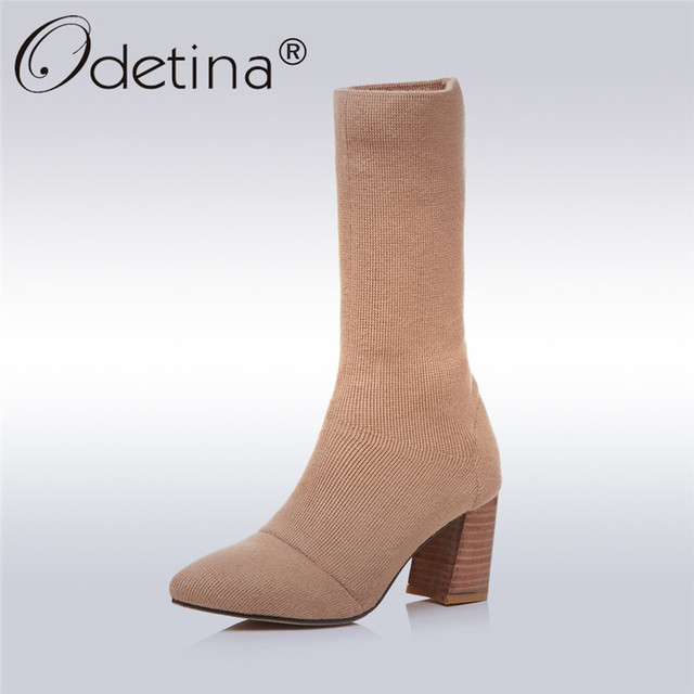 New Mujer Ladies High Block Heels Sock Pointed Toe Sock Heels Zip Ankle botas Zapatos Talla 65ad7e