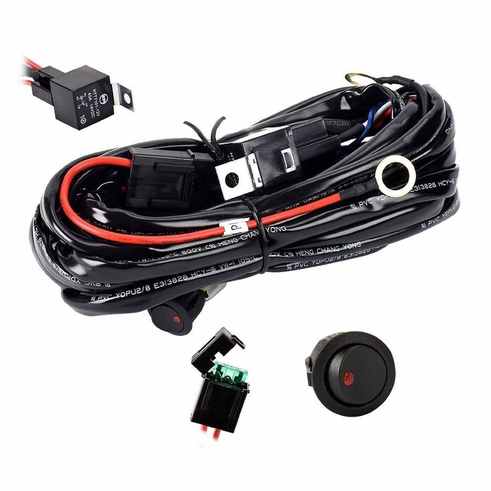 New Universal 12V 40A Car Fog Light Wiring Harness Kit Loom For HID Work Driving Light Bar With Fuse And Relay Switch