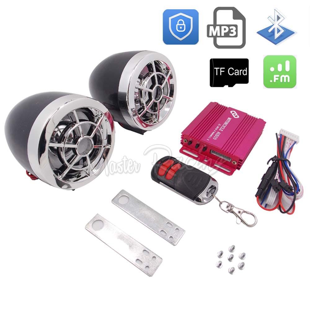 Prix pour Moto Système Audio Bluetooth Lecteur MP3 Moto Alarme Audio Haut-Parleur Moto Alarme Vol TF Carte USB FM Radio Étanche
