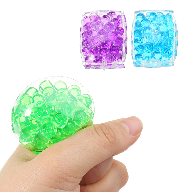 Squishyed Toy MultiColor Tofu Mesh Stress Reliever Ball 5*4*2CM Squeeze Stressball Party Bag Fun Novelty Gift For Kids Childern