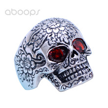 Gothic Punk Real 925 Sterling Silver Biker Skull Ring Jewelry Inlaid Red Stone Eyes for Men Size 8.5 9 10 11 Free Shipping недорого