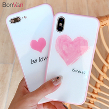 BONVAN Tempered Glass Case For iPhone X 7 8 Pink Lovely Heart Hard Back Cover Soft Silicone Bumper For iPhone 7 8 6S 6 Plus Case hat prince protective silicone soft back case for 4 7 iphone 6 pink black