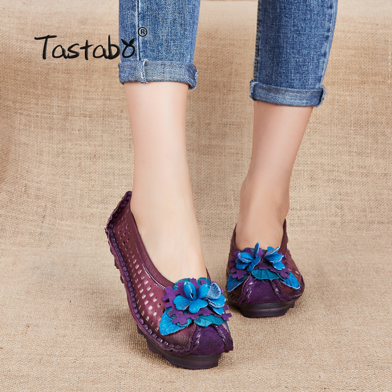 Tastabo NEW Handmade Ladies Shoes Genuine Leather Flats Flower Women Driving Shoes Hollow Soft Genuine Moccasins Women Shoes sexemara new original handmade women genuine leather shoes lace soft cowhide loafers real skin ladies shoes driving female shoes