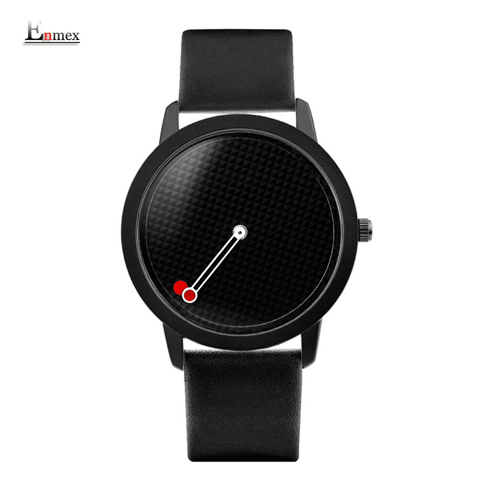 2017 men gift Enmex brief design gentlemancreative geometric designs Floating pointer 3D dail with young fashion quartz watches 2017 men s gift enmex unique design leather creative dial changing patterns simple fashion for young peoples quartz watches