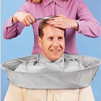 Kreatywny fartuch DIY ścinanie włosów płaszcz płaszcz fryzjer Salon styliści parasol Cape cięcia płaszcz czyszczenia gospodarstwa domowego Protector tanie i dobre opinie CN (pochodzenie) Silver coated cloth + steel ring Krótkie Czyszczenie Bez rękawów fartuch