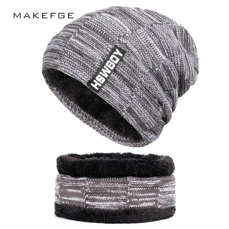 d0b1ff40009 2018 New Fashion Brand Men s Striped Knit Beanie Hat Scarf High Quality  Winter Plus Velvet Thicken Hedging Cap Scarves Male Bone