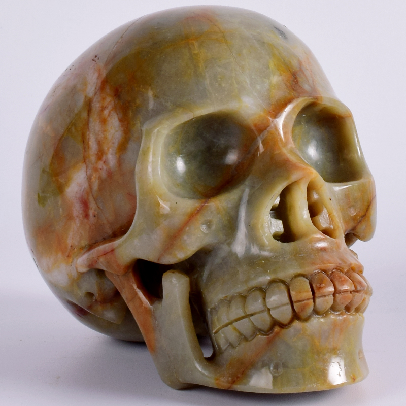 Исцеление натуральный агат череп ручной работы 5 дюймов 1373 г человеческая голова фигурка камнерезного рейки орнамент Книги по искусству ко