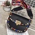 Модельер стиль красочные заклепки тканые ремень дамы сумка седло мешок женщин кошелек crossbody сумка 4 цвет