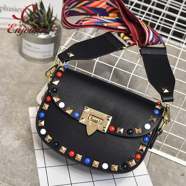69c92e63ff Fashion designer style colorful rivets woven strap ladies shoulder bag  saddle bag women s purse crossbody messenger