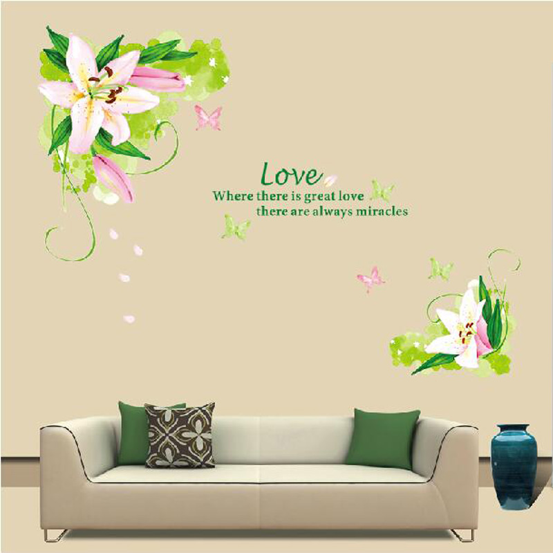 Lily Flowers Wall Sticker On The Wall Vinyl Wall Decor Home Decor Bedroom  Backdrop Wall Decals