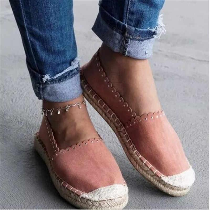 MoneRffi נשים רדוד פה נעלי בד דירות מוצק מוקסינים Femme שטוח תחתון פשתן בד החלקה דייג נעליים לנשימה