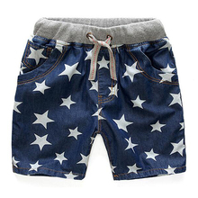 2016 Stars Baby Boys Denim Shorts Kids Pants Jean Sport 2-14Y Summer Style Cotton Shorts Children Jeans Boy Clothes