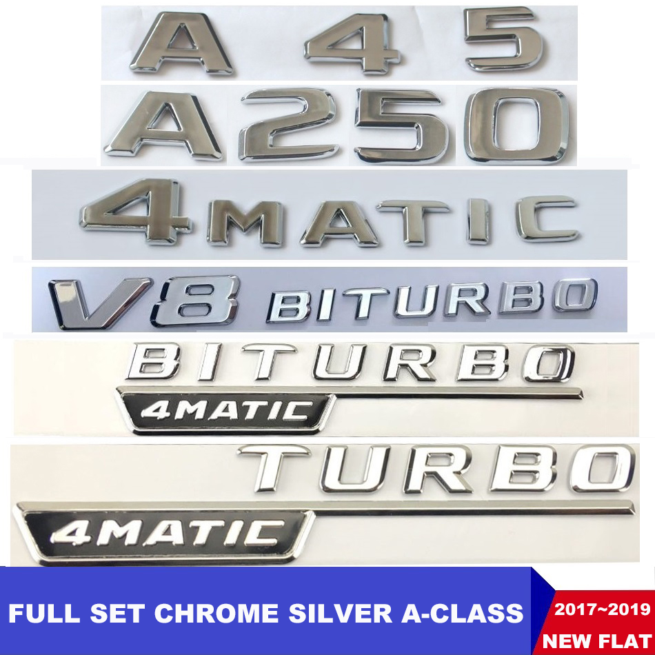 Matt Black A180 Flat Benz Car Model Numbers Letters Badge Emblem For For A Class Benz W176 W177 AMG