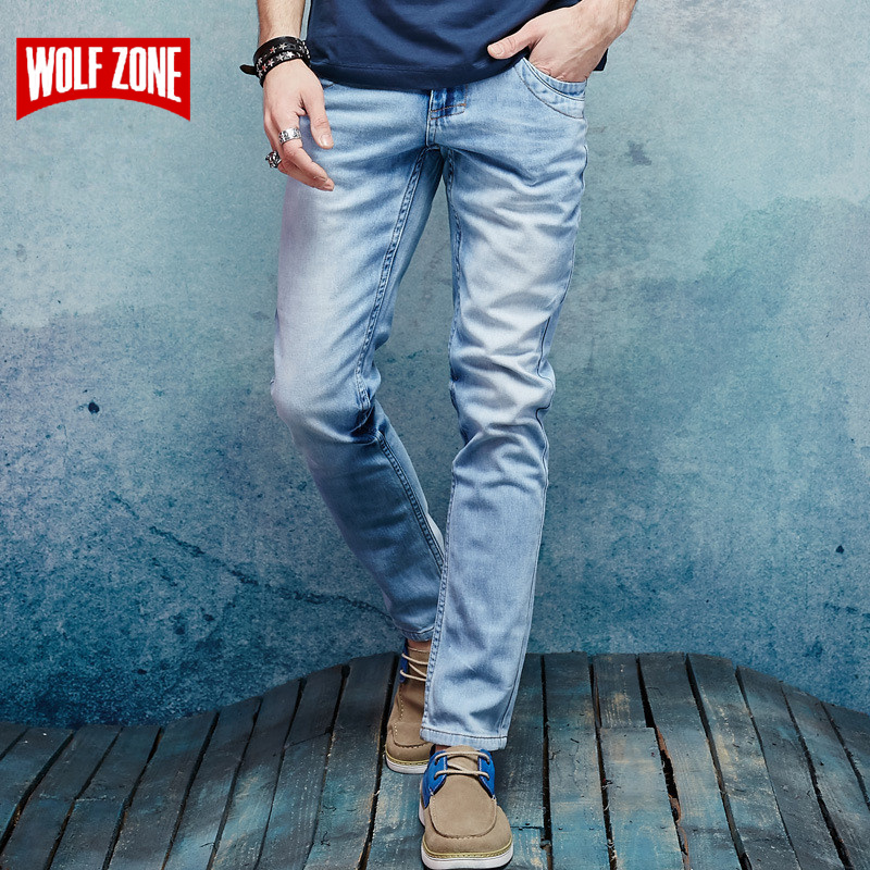 Top Fashion Mens Jeans Brand Robin 2017 Hip Hop Autumn Ripped for Men Solid Cotton Full Length Mid Light Blue Color Sale