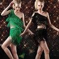 Femal Кисточки Латинский Танец Костюм женские Бальные Износ Производительность юбка Взрослых Блестками Одежды Customes танцы платье