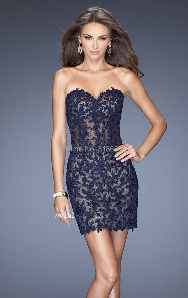 55a83fd926 High Fashion Sweetheart Strapless Sheer Waist Navy Blue Lace Cocktail Dress  Sexy Tight Junior 2014 Homecoming Dresses