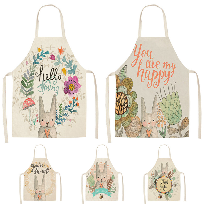 US $2.69 25% OFF|1Pcs 53*65cm Lovely Cartoon Rabbit Printed Kitchen Aprons  for Women Kids Sleeveless Cotton Linen Cooking Cleaning Tools WQ0025-in ...