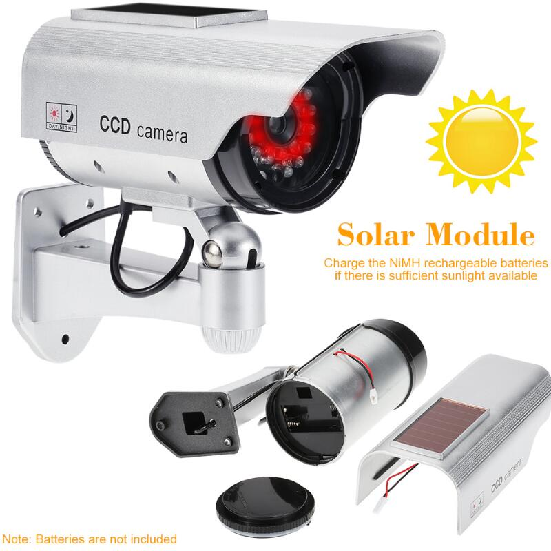 Simulation Fake Camera Solar Power Dummy Camera Waterproof Outdoor CCTV Surveillance Dummy Camera Bullet With LED Light